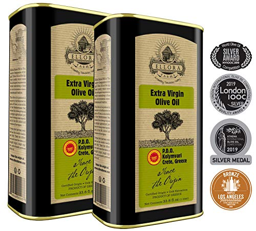 Global Award Winner Single Estate Traceable Extra Virgin Olive Oil | First Cold Press | Protected Designation of Origin PDO | Harvested in Crete, Greece | Kosher | 1 Liter (33.8 oz) Tins | Pack of 2