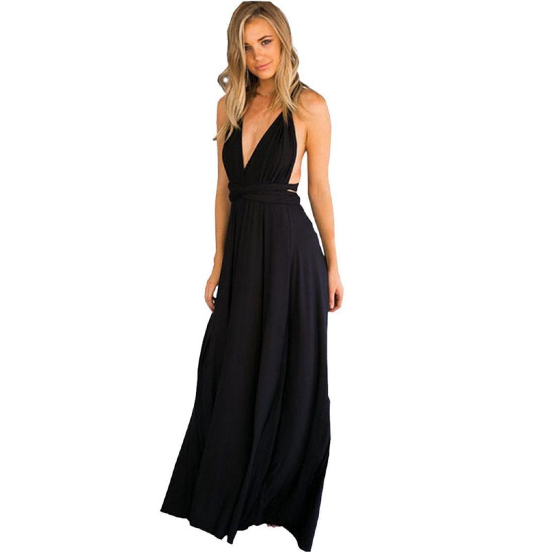 Yuxikong Women Long Dress, Sleeveless Halter Bandage Party Evening Dress Elegant Maxi Dresses