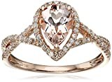 14k Rose Gold Morganite and Diamond Solitaire Ring (1/4cttw, H-I Color, I1-I2 Clarity), Size 7