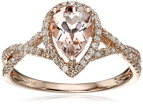 14k Rose Gold Morganite and Diamond Solitaire Ring (1/4cttw, H-I Color, I1-I2 Clarity), Size 7 by Amazon Collection