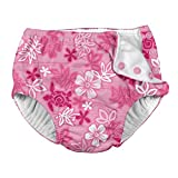 i play. Baby Toddler Girls' Snap Reusable Absorbent Swimsuit Diaper, Pink Hawaiian Turtle, 4T