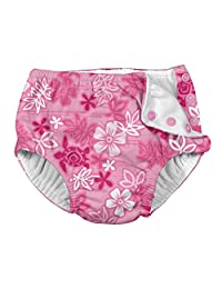 i play. by green sprouts Baby Girls Snap Reusable Swim Diaper, Pink Hawaiian Turtle, 6mo