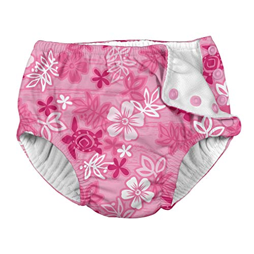 i play. by green sprouts Girls' Baby Snap Reusable Absorbent Swimsuit Diaper, Pink Hawaiian Turtle, 18mo from i play. by green sprouts