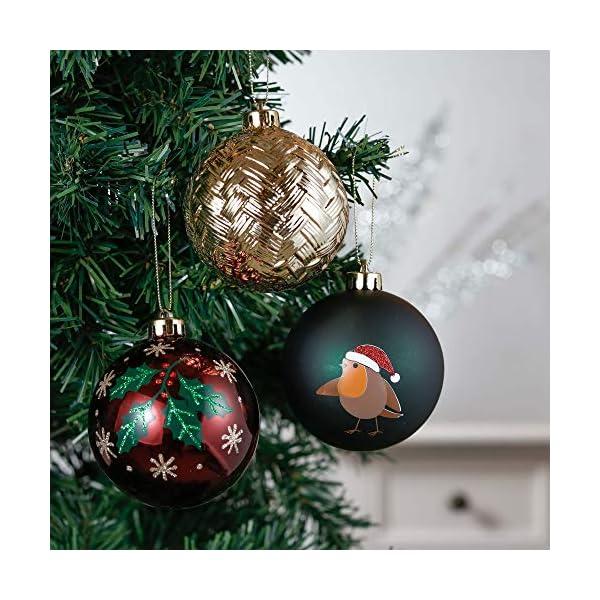 Valery Madelyn Palle di Natale 16 Pezzi 8 cm Palline di Natale, Strada di Campagna Rosso Verde e Oro Infrangibile Ornamenti Palla di Natale Decorazione per Albero di Natale Decor 4 spesavip