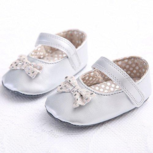 etrack-online bebé Prewalker zapatos Mary Jane gran lazo Bling Bling de piel sintética niña plateado Talla:12-18months plateado