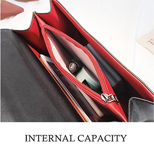 femelle de sac imprimé Nouveau rétro couleurs WENMW main bambou sac option sac de de sac messenger en 5 bandoulière Rouge à poignée à wpYq5I
