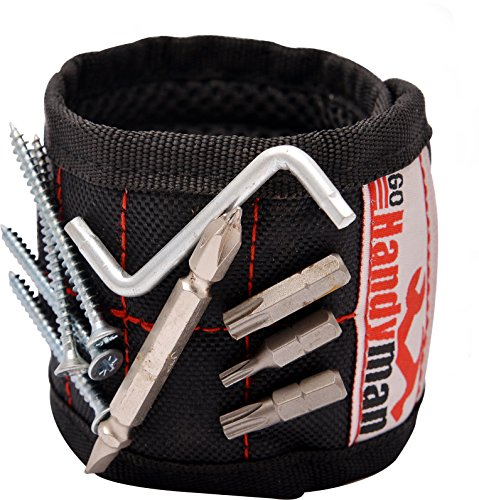 Magnetic Wristband For Screws And Holding Tools With Strong Magnets For Diy Work  Perfect Christmas Gift For Man Husband Or A Boyfriend   Included A Quality Metal Box For Collecting Nails