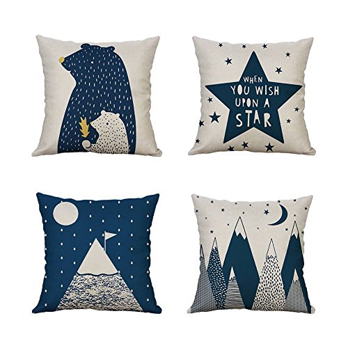 Heyhousenny Decorative Throw Pillow Covers,4 Packs Cotton Linen Square Throw Pillow for Chair, Deco Indoor,18 x 18 inches(Cartoon Beer,Star,Mountain)