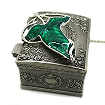 Wo-dreams Lord of the Rings Aragorn Elven Green Leaf Brooch Pin Pendant Necklace with Jewelry Box,Lord of the Rings Necklace,Great Gift for The Lord of the Rings Fans Clistmas Gifts