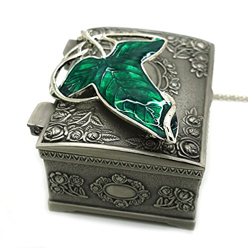 Ruimeng Lord of the Rings Aragorn Elven Green Leaf Brooch Pin Pendant Necklace with Jewelry Box (Rings Lord The Of Elven)