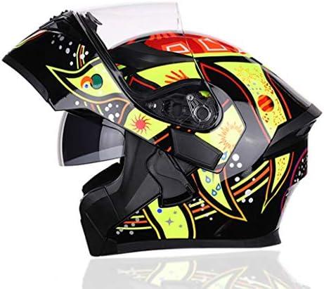 NJ ヘルメット- オートバイのヘルメットの男性と女性のヘルメット四季ユニバーサルパーソナリティ防曇ダブルミラーヘルメットを発表 (Color : G, Size : XL)