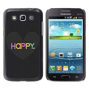 All Phone Most Case / Hard PC Metal piece Shell Slim Cover Protective Case Carcasa Funda Caso de protección para Samsung Galaxy Win I8550 I8552 Grand Quattro Love Heart Black Brushed Colorful