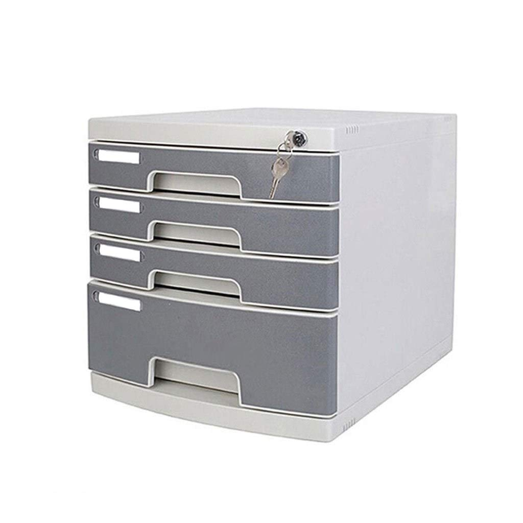 File Cabinet Lockable Multi Layer Office File Storage and Lock Drawer Cabinet Desktop Plastic Flat File Cabinets 4 Layers