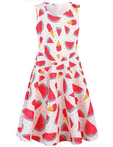 RAISEVERN Cute Girls Summer Dress Sleeveless Sweet Watermelon Ice Cream Design Printing Cool Holiday/Casual/Party Sundress(4-13Years) by RAISEVERN