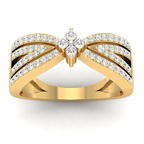 14K Yellow Gold (HallMarked) 0.42cttw Round-Cut-Diamond (IJ | SI) Diamond Engagement Wedding Ring Size - 8 by PEACOCK JEWELS