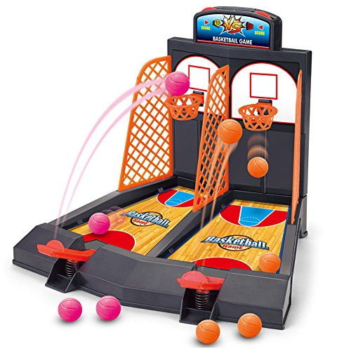 Hoop Game Table (Basketball Shooting Game, YUYUGO 2-Player Desktop Table Basketball Games Classic Arcade Games Basketball Hoop Set, Fun Sports Toy for Adults-Help Reduce Stress)