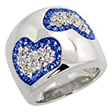 Sterling Silver Hearts Blue Sapphire Rainbow CZ Cigarband Ring 11/16 inch, size 6