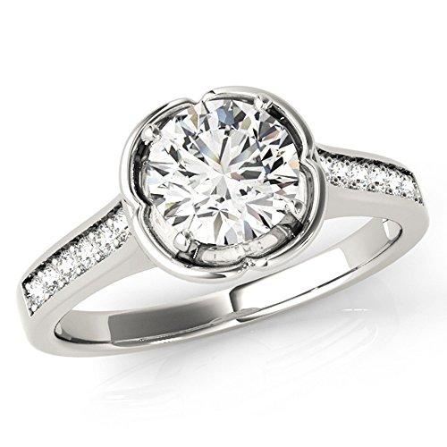 Scintilenora Curved Halo GIA Cerified Diamond Engagement Ring 18k Gold 1 1/3 TDW