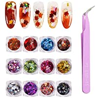 DAGEDA 12 Boxes Leaf Sequins Laser Nails Art Glitters Thin Paillette Flakes Stickers Colorful Confetti Sticker Manicure Nail Art Supplies Christmas Nail DIY Manicure Decals Decoration- Fall Leaf Mixed