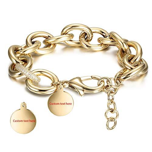 - CIUNOFOR CZ Bracelet for Women Girls Wide Cuban Curb Link Bracelet with Round Disc Charm Personalized Custom Name Bracelet & Coordinates Bracelet