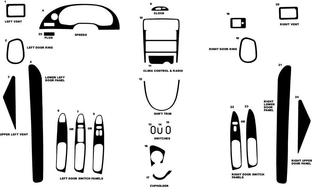 Rvinyl Rdash Dash Kit Decal Trim for Ford Mustang 1994-2000 - Snake Skin (Black)