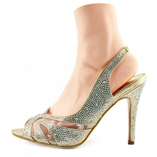 Kick Footwear - Ladies new kitten heel diamante sandal, party sandal,prom shoe, wedding low heel GOLD-S160207