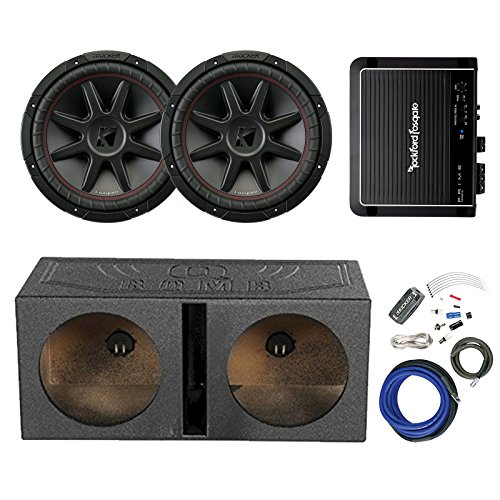 "2x Kicker 12"" 800 Watt 4 Ohm Car Audio Subwoofer, and QPOWER QBOMB12V 12"" Rhino Lined Dual Vented Subwoofer Box Enclosure, Rockford Fosgate 500W Amplifier, Kicker 8 Gauge Amplifier Power Wiring Kit"