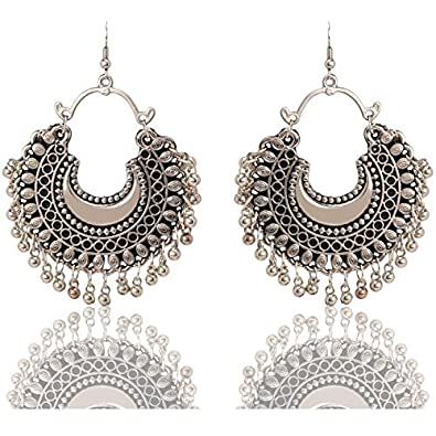 6dc80a3442303 Aradhya Designer German Silver Multi Colour Oxidized Mirror Afgani Earrings  for Women and Girls