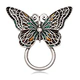 CHUANGYUN Antique Silver Colorful Wings Butterfly Strong Magnetic Classic Brooch Animal Brooch Jewelry Eyeglass Holder