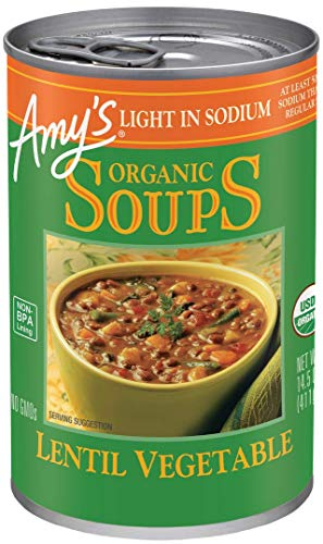 Canned Pea Soup - Amy's Organic Lentil Vegetable Soup, Light in Sodium, 14.5-Ounce