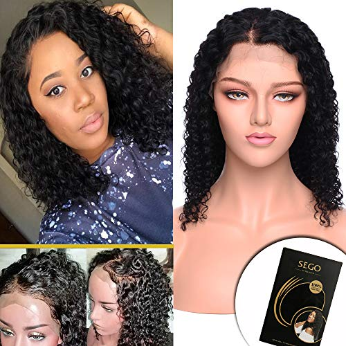 14 Inch Curly Bob Lace Front Wig Human Hair with Baby Hair for Black Women Deep Wave Brazilian Virgin Hair Wigs Glueless Swiss Lace Front Pre-plucked 130% Density Natural Black -