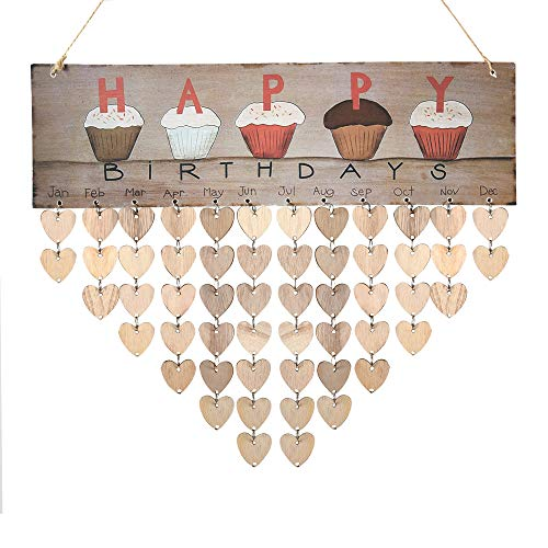 Wooden Cupcake Birthday Calendar Plaque for Family Friends Birthday Reminder Home Decor Wall Hanging Sign with 50 Pieces Wood Heart Tags]()