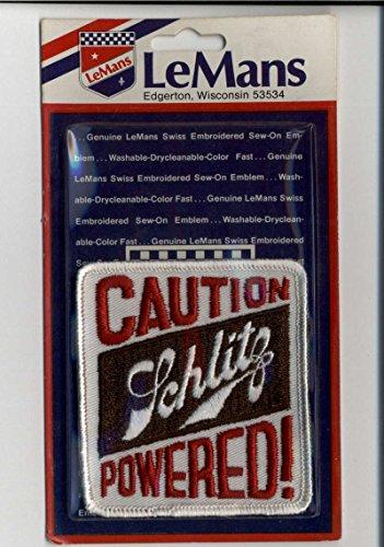 Caution Schlitz Powered LeMans Sealed New Patch Emblem Vintage Memorabilia