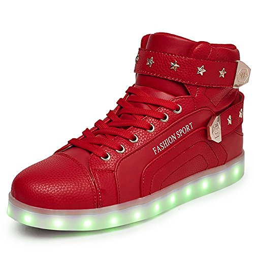 New Unisex High Top Led Light Up Dance Shoes 11 Colors Flashing Sneakers (Red 42)