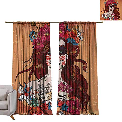 Bedroom Curtains Day of The Dead,Dia de Los Muertos Spanish Culture Mexican Festive Skull Art,Cinnamon Magenta Maroon W84 x L96 Printed Window Curtains for Kitchen