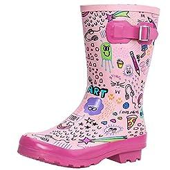 ALEADER Kids Waterproof Rubber Rain Boot...