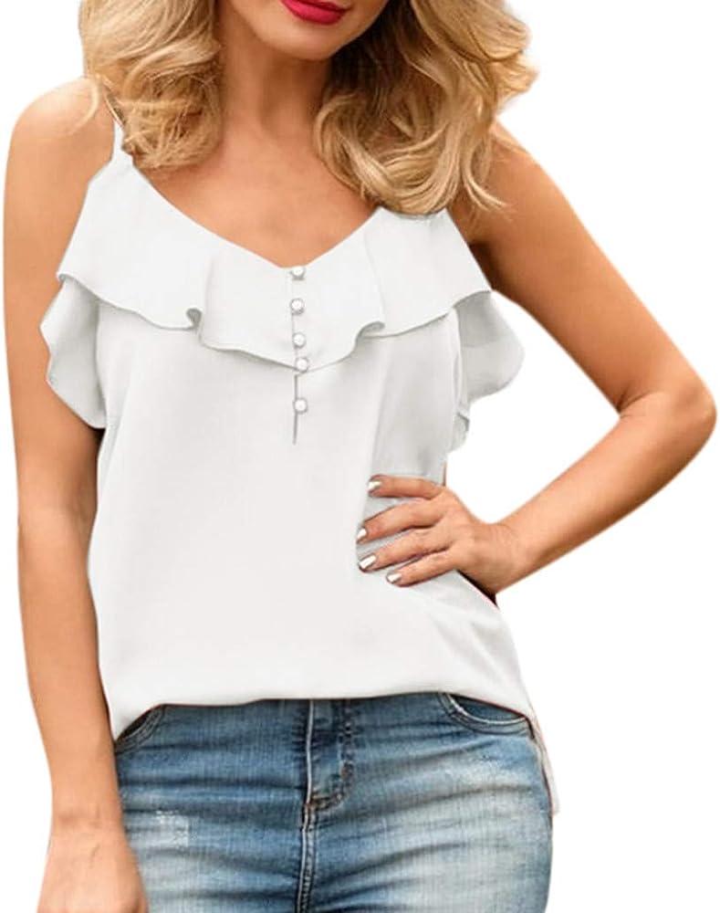 Proumy Camiseta de Tirantes Mujer Camisola con Volantes Blusas de Tiras Finas Chaleco con Botón Tank Top Cuello V Camisa Blanca Elegante Ropa Casual Sólida de Talla Grande Verano Nuevo: Amazon.es: Ropa