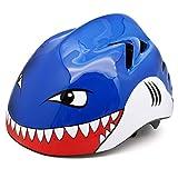 M Merkapa Kids Bike Helmet Adjustable 3D Shark Bicycle Helmets for Toddler and Youth (Blue Shark M)