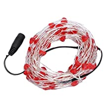 Red Heart Shaped Copper Silver LED String Starry Light Fairy Foldable Bendable LED Lighting for Xmas Decoration Wedding Party Backlight IP67 Waterproof DC 12V 10 Meters