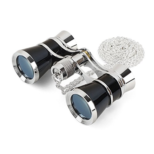Aomekie 3X25 Theater Opera Glasses Binoculars for Musical Concert (Black, with Chain)