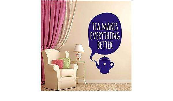 Ajcwhml Etiqueta de la Pared Etiqueta de Vinilo El té Hace Que Todo Sea Mejor Taza Arte de la Pared Habitación de diseño Dormitorio Familiar Sala de Estar Cocina 23X42 CM: Amazon.es: