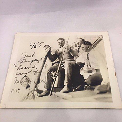 - Autographed Jack Dempsey Photo - Vintage 1924 Original 8x10 Fishing - Autographed Boxing Photos