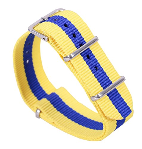 22mm Yellow/Blue Luxury Exquisite Men's One-Piece Nato style Nylon Perlon Watch Bands Straps - Size Guide Gucci