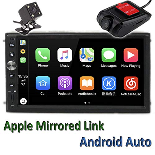 "Polarlander 2Din 7"" Universal Car Radio Mirror Link for All Smartphone Multimedia Player Universal Car Stereo with Radio,GPS, Bluetooth,Intelligent Voice Control,Rear View Camera and DVR"