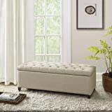 Shandra Tufted Top Storage Bench Linen See Below