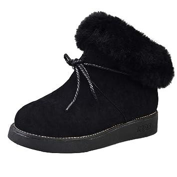 QUICKLYLY Botas De Nieve Mujer,Botines para Adulto,Zapatillas/Zapatos De Invierno Calzado De Felpa Decorativos Más Terciopelo Antideslizantes Cálidas: ...