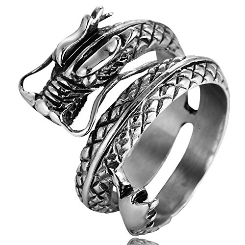 Men's Vintage Gothic Stainless Steel Band Rings Silver Black Chinese Dragon Punk Biker Rings Size 8