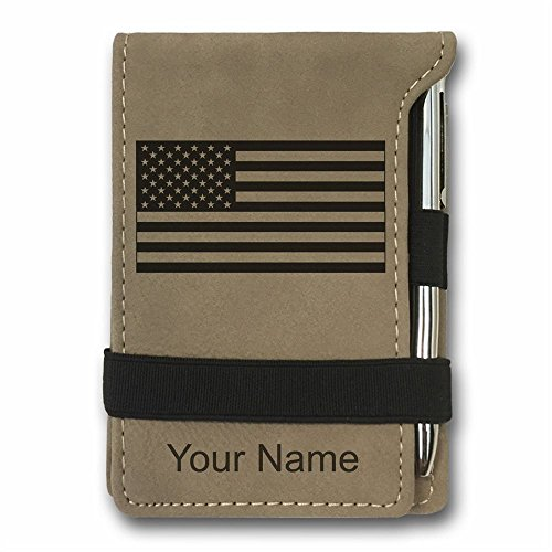 Mini Pocket Notepad - Flag of the United States - Personalized Engraving Included (Light Brown)