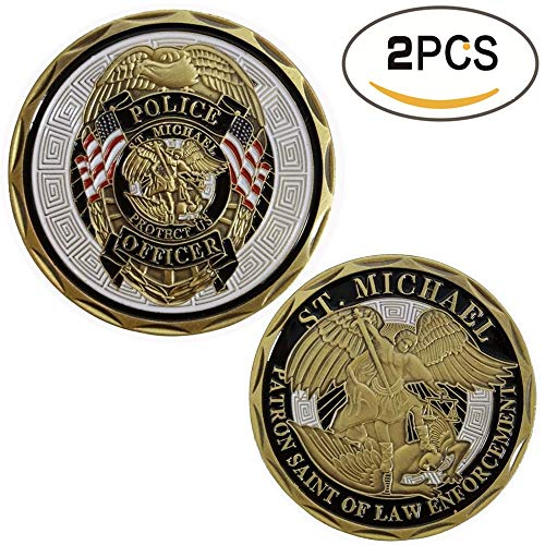 zcccom 2 pcs Set of Challenges Coins Deluxe Collector's Set | Police Officer St Michael Law Enforcement Challenge Coin - Officially Licensed Each Coin Comes w/ a Plast(Police Officer Enforcement) (Deluxe Collector Set)