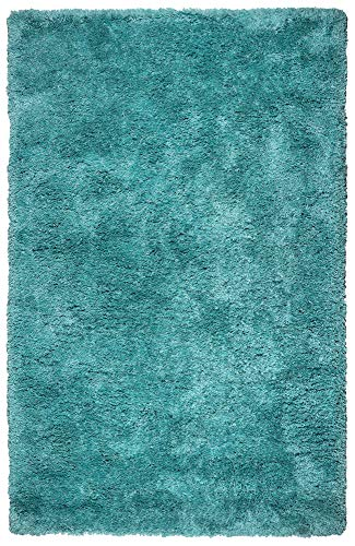 (Rizzy Home | Commons Collection | Polyester | Blue-Aqua/Gray/Rust/Blue Solid Area Rug | 3'6